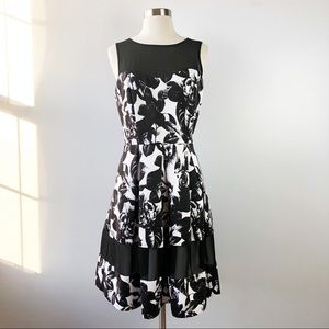 WHBM Black White Floral Fit & Flare Cocktail Dress